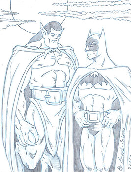 Gargoyle and Batman (sketch)