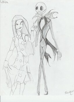 A cute sketch of Jack and Sally.